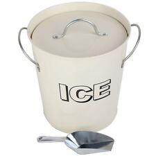 Vintage Retro Party Bar Ice Cooler Holder Bucket with Scoop Set - Cream