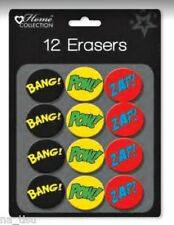 12 SUPERHERO ERASERS rubbers Novelty boys party bag filler birthday children
