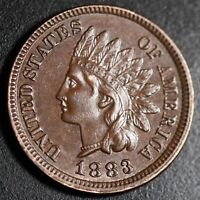 1883 INDIAN HEAD CENT - With LIBERTY & Near 4 DIAMONDS - AU UNC