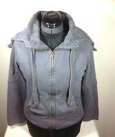 Old Navy Women's Size Jr. Medium Gray Heavyweight Full Zip Hooded Sweatshirt