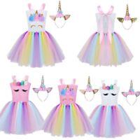 Kids Girls Cartoon Halter Rainbow Tutu Mesh Dress Headband Halloween Costume
