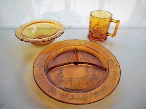 Tiara Indiana Glass Amber Child's Plate, Bowl, & Mug Nursery Rhyme Service Set