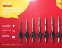 DRILL & COUNTERSINK IN ONE 7Pc BIT SET CASE 5,6,7,8,9,10,12mm Hard/Soft Wood