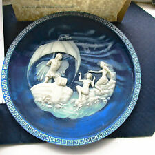 Vintage The Sirens By A Brunettin Lapis Blue Cameo Stone Plate Voyage of Ulysses