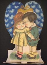 VINTAGE VALENTINE CARD*POP UP*DIE CUT*TO MY VALENTINE*CUTE COUPLE*BLUE HEARTS