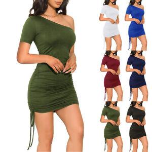 Womens Sexy Bodycon Drawstring Dress Ladies Summer Slim Holiday Party Dresses US