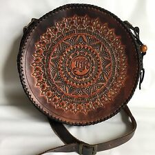 Round circle Medium Cross-body bag - Leather - ARTISAN HAND-CRAFTED