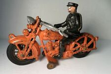 "1930's HUBLEY HARLEY DAVIDSON SOLO ORANGE MOTORCYCLE W/ RIDER 9"""