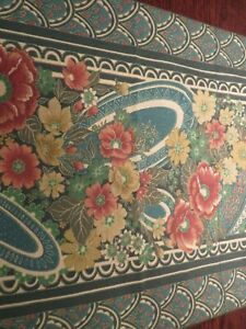 "Lovely Vintage CROSCILL Valance 88"" W/ Poppies & Jonquils Iris Floral EUC"
