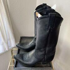 Tony Lama True Vintage Black Leather Tall Cowboy Boots Sz 8 Super Soft