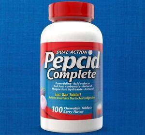 PEPCID COMPLETE 100 ct chewable BERRY flavor antacid DUAL ACTION acid reducer