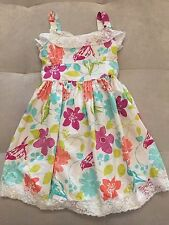 Girl Dress Size 8 By Bonnie Jean Cotton Flowers Birds Puffy White Purple Orange