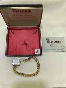 Vintage Belforte Model 7A 1 Square Lucite Manual Wind 7 Jewels Bracelet Watch