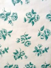 Vintage Wallpaper Roses Teal Green Off-White Waverly 560072 DOUBLE ROLLS