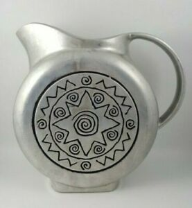 Vintage Wilton Co Pewter Water Pitcher Sun Design 8.5 Inches.