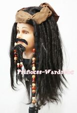 Haloween Brown Corsair Pirate Freebooter Wig Synthetic Hair Party Costume 3P Set