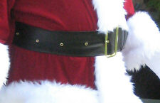 "Men's Wide Belt Santa Claus Big Pirate Ren Faire Sturdy Black Vinyl 58"" XLong"