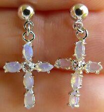 "Australian Opal Platinum Cross earrings post/dangle, 1"" long Natural Gemstone"