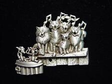 """JJ"" Jonette Jewelry Silver Pewter 'CAT CHOIR' Pin ~ Beautiful MUSIC"