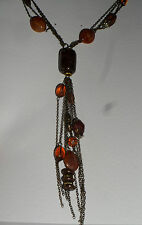 dark gold plated beaded Necklace Long Dangly Brown multi strand