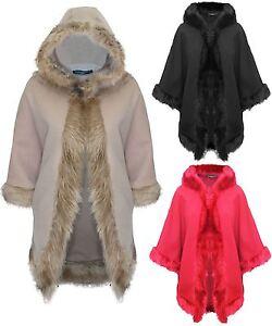 Ladies Womens Faux Fur Hooded Italian Shawl Poncho Dress Cardigan Wrap Scarf Top
