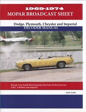 Chrysler Dodge Plymouth Build Sheet Decoder 1969 1970 1971 1972 1973 1974