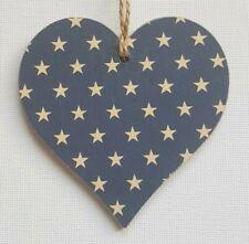Handmade Wooden Hanging Heart Door Hanger Lovely Navy Blue & Gold Stars Print