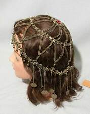 RARE VINTAGE DECO BRASS ELABORATE EGYPTIAN TRIBAL BELLY DANCER HEADPIECE, COINS
