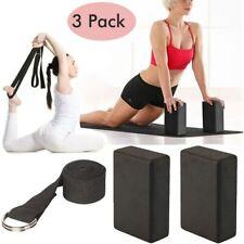 3pcs Yoga Block Set EVA Foam Brick W/ D Ring Stretch Strap Belt exercise fitness