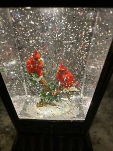 "Christmas Snow Globe Water SWIRLING Lighted Cardinal 2 Red Bird 11.5"" (GT) Tree"