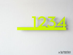 Modern House Numbers Neon Yellow Acrylic - Contemporary Home Address-Sign Plaque