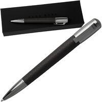HUGO BOSS Kugelschreiber mit Geschenk Box Verpackung Metall Stift Leder Schwarz