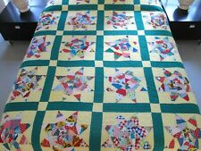 FULL Vintage Hand Pieced & Quilted All Cotton CRAZY PRAIRIE STAR Quilt; Good !