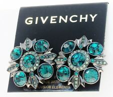 NEW GIVENCHY Swarovski Emerald Hued Crystal Hematite-Tone Clip Button Earrings