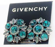 GIVENCHY Swarovski Emerald Hued Crystal Hematite-Tone Clip Button Earrings