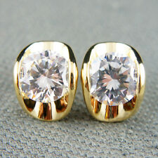 18k Gold GF Diamond simulant stud crystals earrings