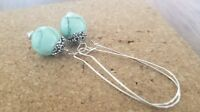 Sterling Silver Earrings Dangle Natural Stone Turquoise beaded Handmade in USA
