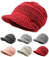 Men Women Winter Visor Beanie Knit Hat Cap Fur Lined Crochet Thick Warm hat