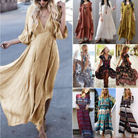 Womens Long Boho Floral V Neck Maxi Swing Dress Summer Holiday Beach Sundress
