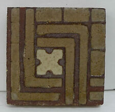 Grueby Antique Tile with Geometric Pattern-Brown