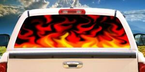 RED FLAMES Rear Window Graphic back truck decal suv view thru vinyl