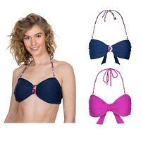 Trespass Aubrey Womens Ladies Bikini Top Pink Navy Halter Neck