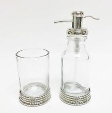 NEW 2 PC SILVER PUMP+GLASS VINTAGE STYLE BATHROOM,KITCHEN SOAP DISPENSER+TUMBLER