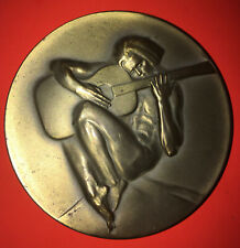 Bronze WAR & PEACE-Society of Medalists 87th Issue-1973-Naked Man Guitar-Soldier