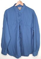 Duluth Trading Co Long Sleeve Button Down Fishing Shirt Solid Blue Mens Large