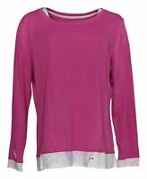 Isaac Mizrahi Live! Women's Top Sz L Essentials Pima Cotton Layered Pink A384116