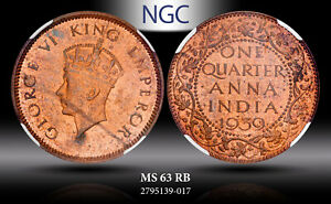 1939-C India 1/4 Anna NGC MS63RB Multi Toned Gem