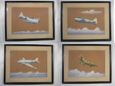 Set of (4) Signed 1944 Orig. Airplane Paintings WWII, US Navy Bomber, Trainer +