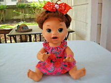 "2014 Hasbro Baby Alive 15"" Brunette Snackin Sarah Interactive English/Spanish"