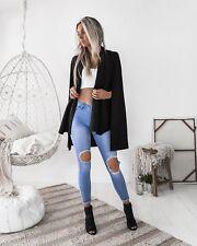 UK Womens Ladies Shawl Collared Open Placket Blazer Coat Cape Tops Size 8-20